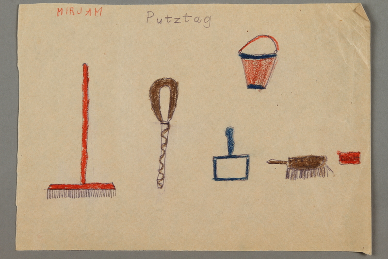 "2016.527.26 front Drawing of cleaning items entitled ""Putztag"" (Cleaning Day) created by a Jewish Austrian child"