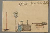 """2016.527.27 front Drawing of cleaning items entitled """"Putztag"""" (Cleaning Day) created by a Jewish Austrian child  Click to enlarge"""