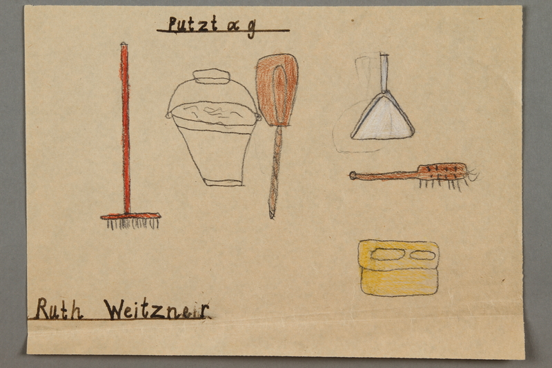 """2016.527.28 front Drawing of cleaning items entitled """"Putztag"""" (Cleaning Day) created by a Jewish Austrian child"""