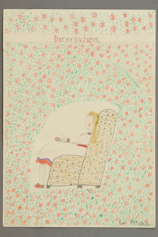 2016.527.29 front Drawing depicting Dornroschen, or Sleeping Beauty, created by a Jewish Austrian child
