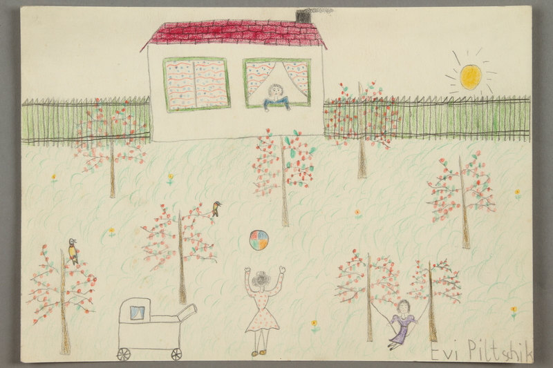 2016.527.30 front Drawing of people and a house with a fenced yard, trees and birds created by a Jewish Austrian child