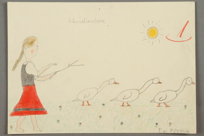 2016.527.31 front Drawing of a girl in a dress with three geese created by a Jewish Austrian child