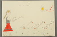 2016.527.31 front Drawing of a girl in a dress with three geese created by a Jewish Austrian child  Click to enlarge