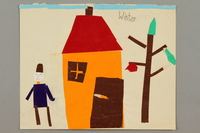 2016.527.33 front Paper collage depicting a person standing next to a house and a tree created by a Jewish Austrian child  Click to enlarge