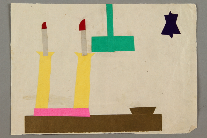 2017.332.2 front Paper collage depicting a table, Shabbat candles and a star of David created by a Jewish Austrian child
