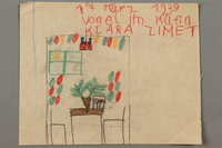 2017.332.3 front Drawing of a bird in a cage on a table created by a Jewish Austrian child  Click to enlarge