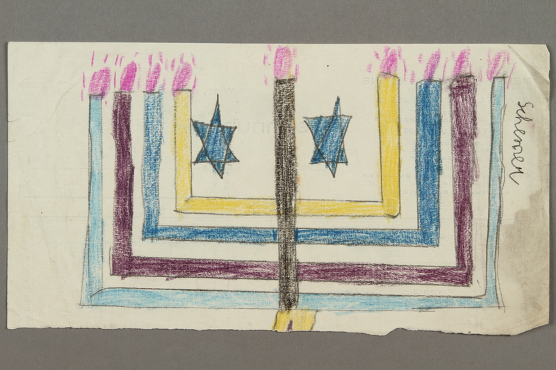 2017.332.4 front Drawing of a menorah created by a Jewish Austrian child
