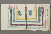 2017.332.4 front Drawing of a menorah created by a Jewish Austrian child  Click to enlarge