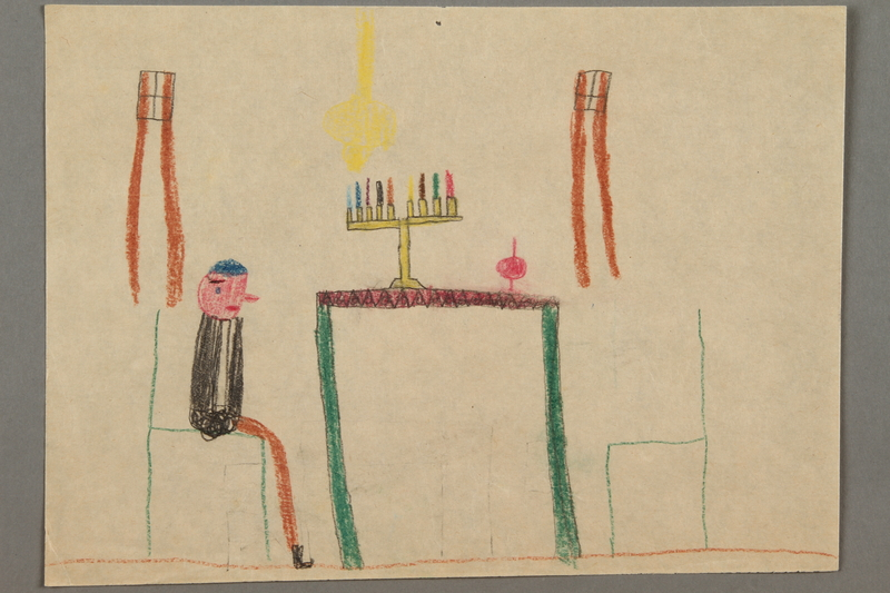 2017.332.5 front Drawing of a table with a menorah and dreidel on top and a person seated at a chair created by a Jewish Austrian child