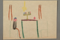2017.332.5 front Drawing of a table with a menorah and dreidel on top and a person seated at a chair created by a Jewish Austrian child  Click to enlarge