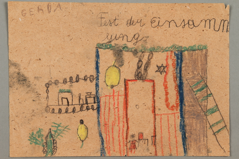 2017.332.6 front Drawing of a sukkah for the holiday of Sukkot created by a Jewish Austrian child