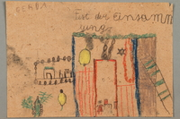 2017.332.6 front Drawing of a sukkah for the holiday of Sukkot created by a Jewish Austrian child  Click to enlarge