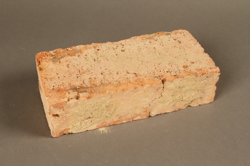 2017.359.3 3/4 view back Brick from a factory in Kőszeg, Hungary