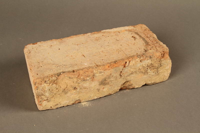 2017.359.5 3/4 view back Brick from a factory in Kőszeg, Hungary