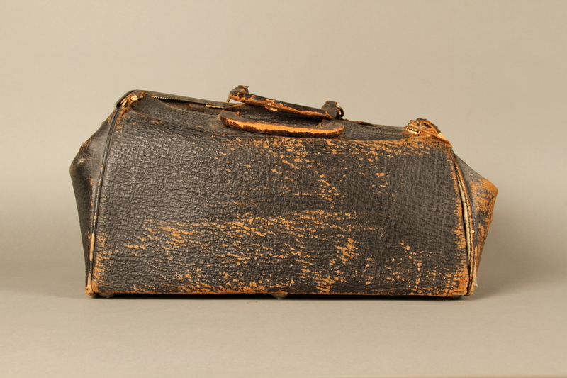 2017.541.4 front Zippered leather medical bag used by an Austrian Jewish physician