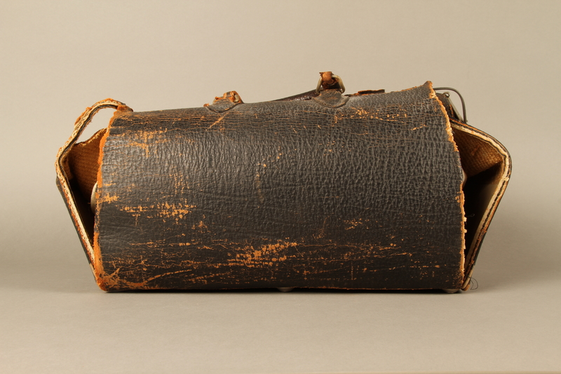 2017.541.4 back Zippered leather medical bag used by an Austrian Jewish physician