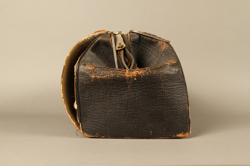 2017.541.4 right Zippered leather medical bag used by an Austrian Jewish physician