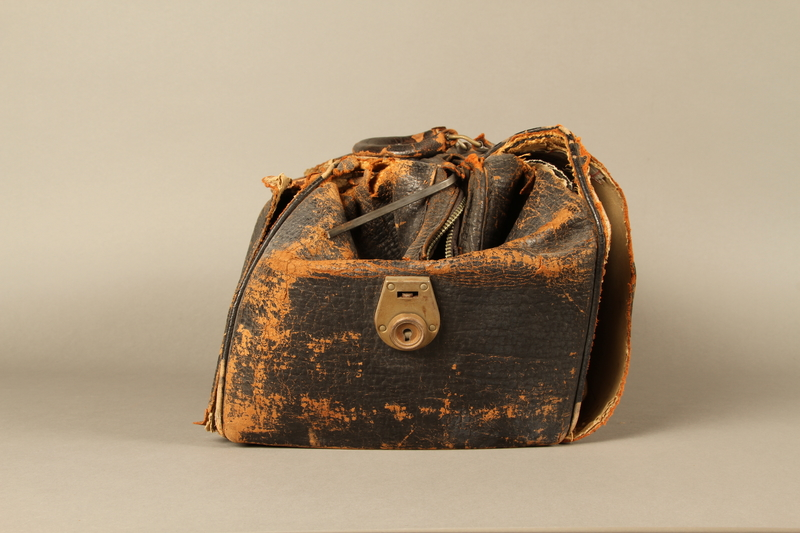 2017.541.4 left Zippered leather medical bag used by an Austrian Jewish physician