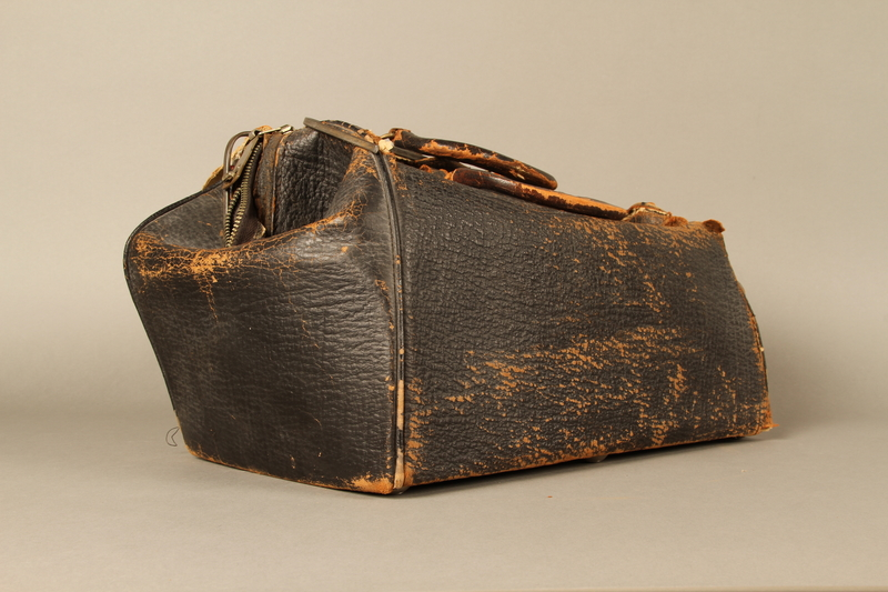 2017.541.4 3/4 view Zippered leather medical bag used by an Austrian Jewish physician