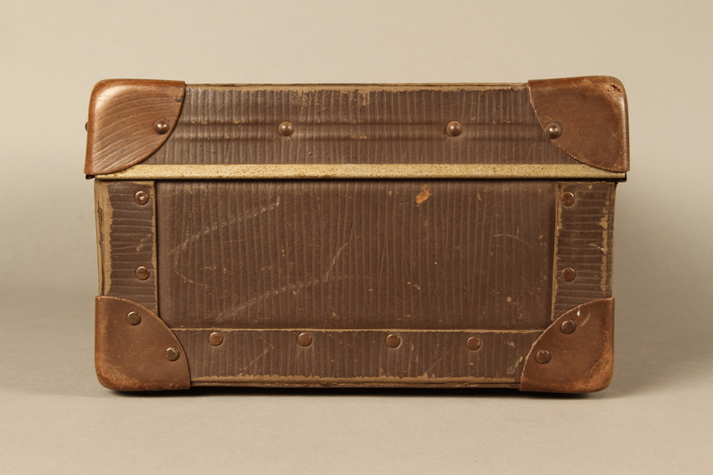 2017.541.5 left Small suitcase with a metal handle used by a Jewish Austrian physician