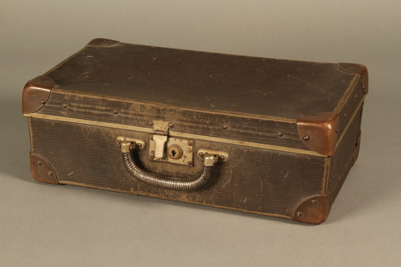 2017.541.5 closed Small suitcase with a metal handle used by a Jewish Austrian physician