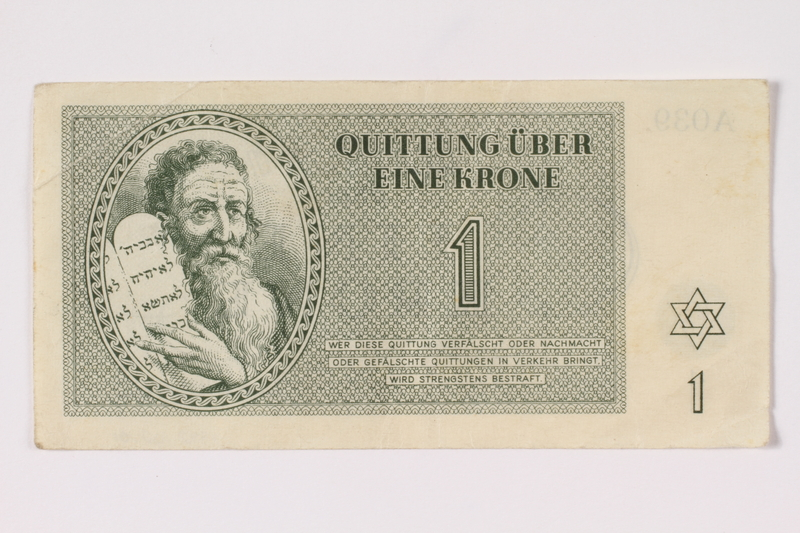 1992.102.1 front Theresienstadt ghetto-labor camp scrip, 1 krone note