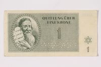 1992.102.1 front Theresienstadt ghetto-labor camp scrip, 1 krone note  Click to enlarge