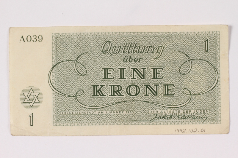 1992.102.1 back Theresienstadt ghetto-labor camp scrip, 1 krone note