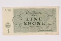 1992.102.1 back Theresienstadt ghetto-labor camp scrip, 1 krone note  Click to enlarge