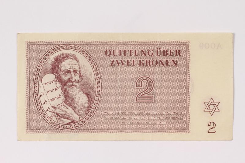 1992.102.2 front Theresienstadt ghetto-labor camp scrip, 2 kronen note