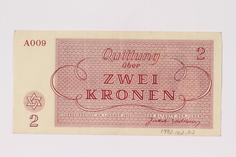 1992.102.2 back Theresienstadt ghetto-labor camp scrip, 2 kronen note
