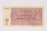 1992.102.2 back Theresienstadt ghetto-labor camp scrip, 2 kronen note  Click to enlarge