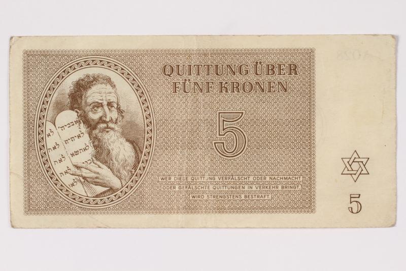 1992.102.3 front Theresienstadt ghetto-labor camp scrip, 5 kronen note
