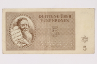 1992.102.3 front Theresienstadt ghetto-labor camp scrip, 5 kronen note  Click to enlarge