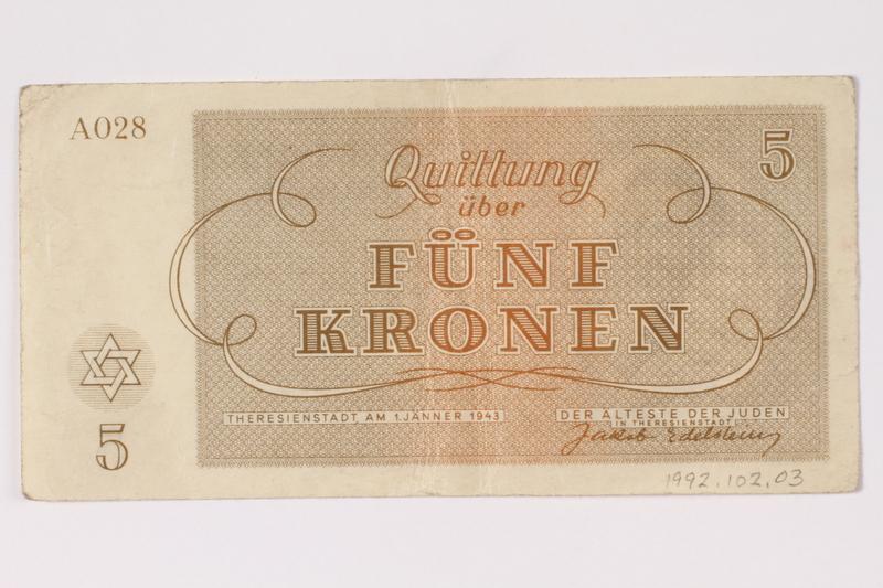 1992.102.3 back Theresienstadt ghetto-labor camp scrip, 5 kronen note