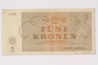 1992.102.3 back Theresienstadt ghetto-labor camp scrip, 5 kronen note  Click to enlarge