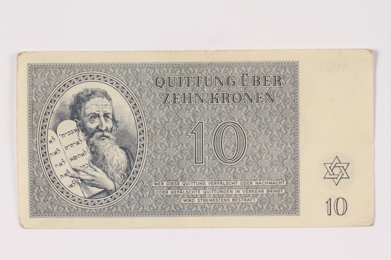 1992.102.4 front Theresienstadt ghetto-labor camp scrip, 10 kronen note