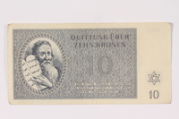 1992.102.4 front Theresienstadt ghetto-labor camp scrip, 10 kronen note  Click to enlarge