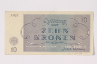 1992.102.4 back Theresienstadt ghetto-labor camp scrip, 10 kronen note  Click to enlarge
