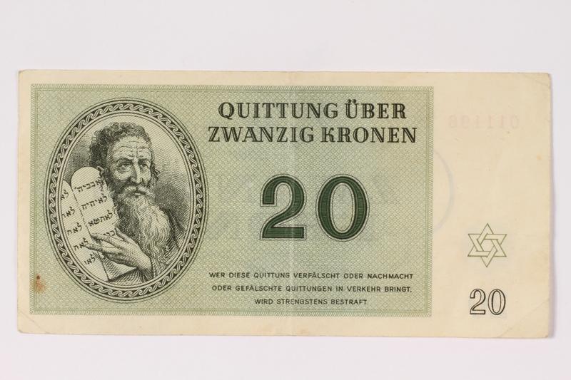 1992.102.5 front Theresienstadt ghetto-labor camp scrip, 20 kronen note