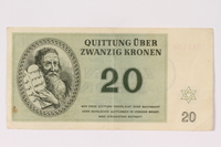 1992.102.5 front Theresienstadt ghetto-labor camp scrip, 20 kronen note  Click to enlarge