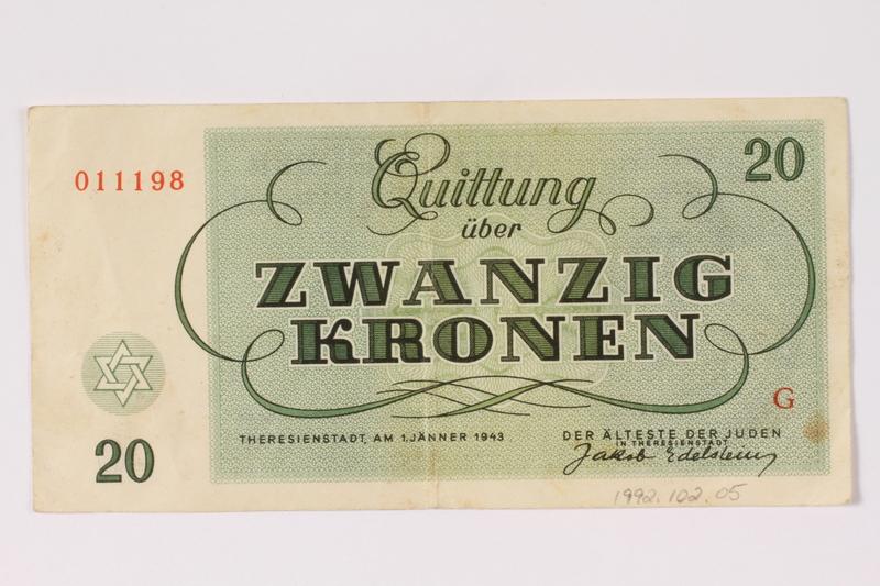 1992.102.5 back Theresienstadt ghetto-labor camp scrip, 20 kronen note