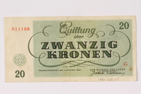 1992.102.5 back Theresienstadt ghetto-labor camp scrip, 20 kronen note  Click to enlarge