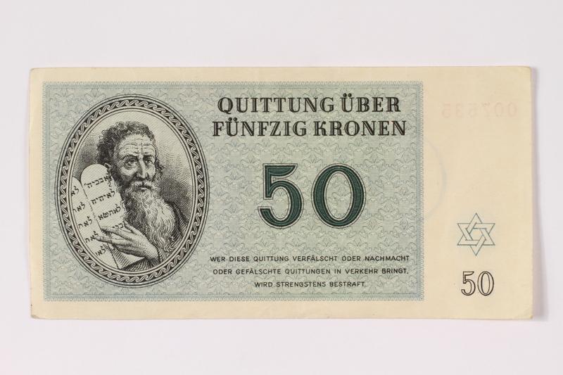 1992.102.6 front Theresienstadt ghetto-labor camp scrip, 50 kronen note