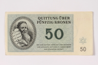 1992.102.6 front Theresienstadt ghetto-labor camp scrip, 50 kronen note  Click to enlarge