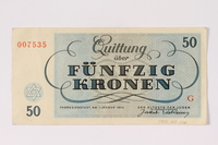 1992.102.6 back Theresienstadt ghetto-labor camp scrip, 50 kronen note  Click to enlarge