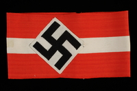 1992.104.4 front Hitler Youth armband with a swastika acquired by a US soldier  Click to enlarge