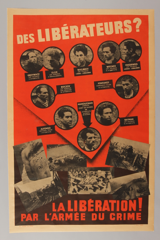 1992.105.1 front Poster issued by the Gestapo to discredit executed French resistance members