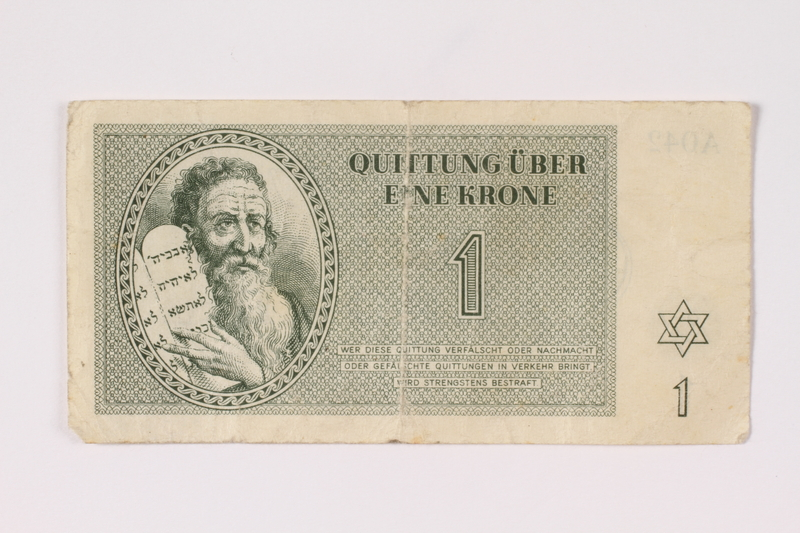 1992.108.1 front Theresienstadt ghetto-labor camp scrip, 1 krone note