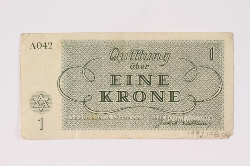 1992.108.1 back Theresienstadt ghetto-labor camp scrip, 1 krone note